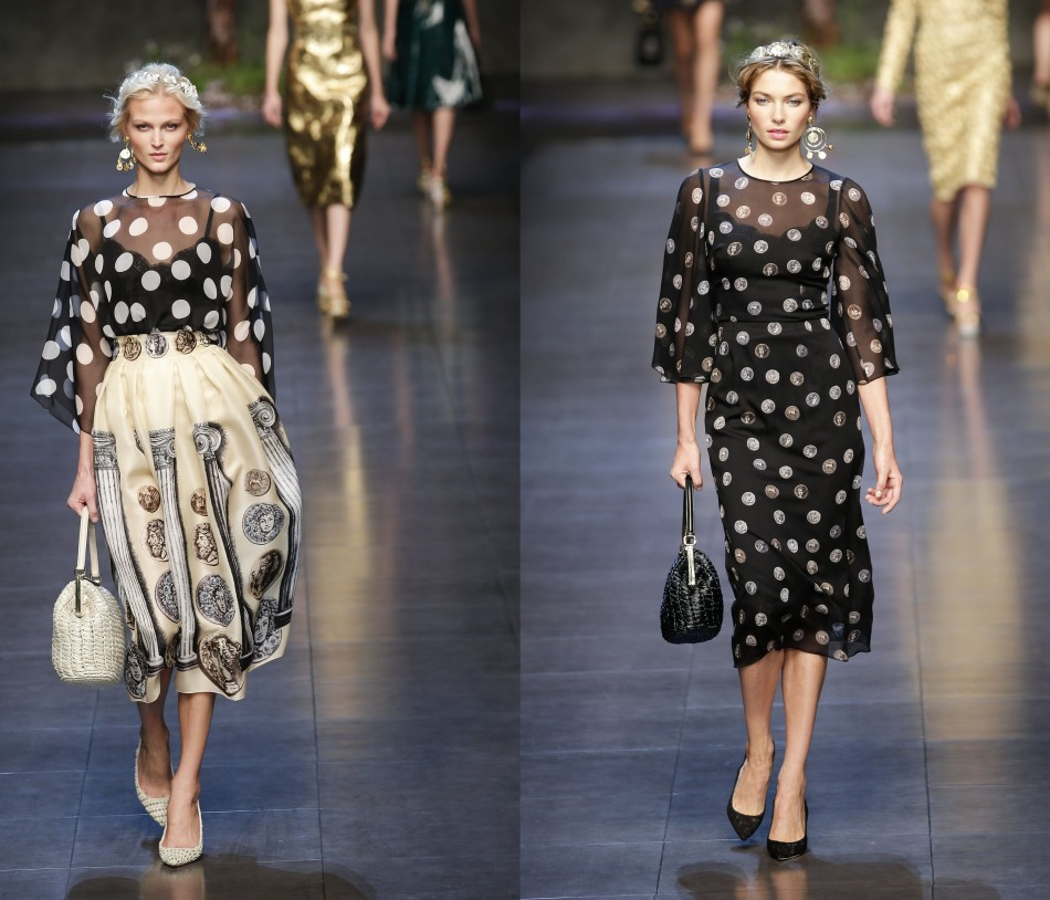These pretty black dresses in polka dots from Dolce&Gabbana recreate retro style. (Photo: REUTERS/Max Rossi)