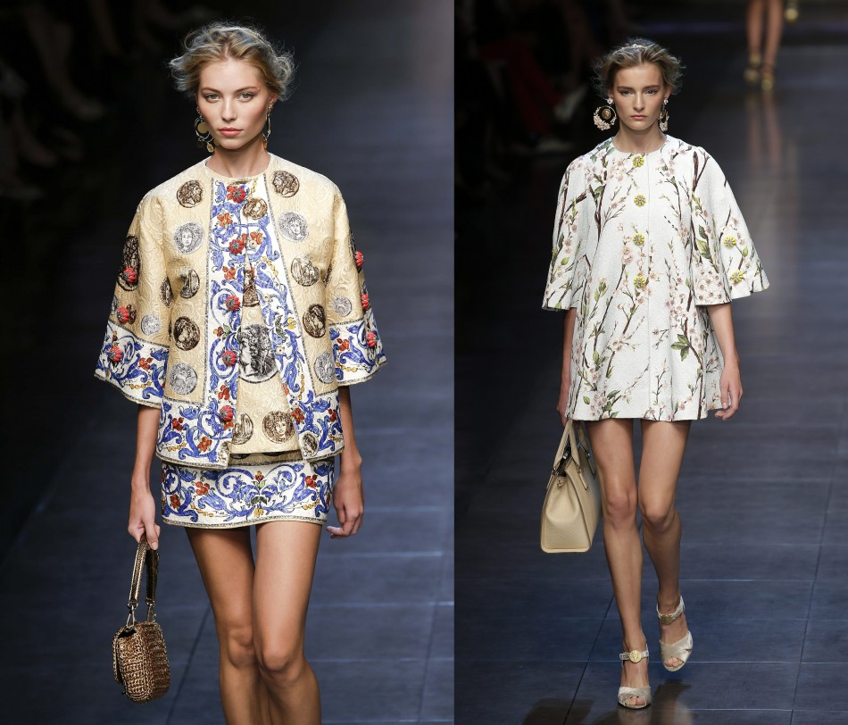 Jackets are in at Milan Fashion Week. Models present jackets with floral patterns from Dolce