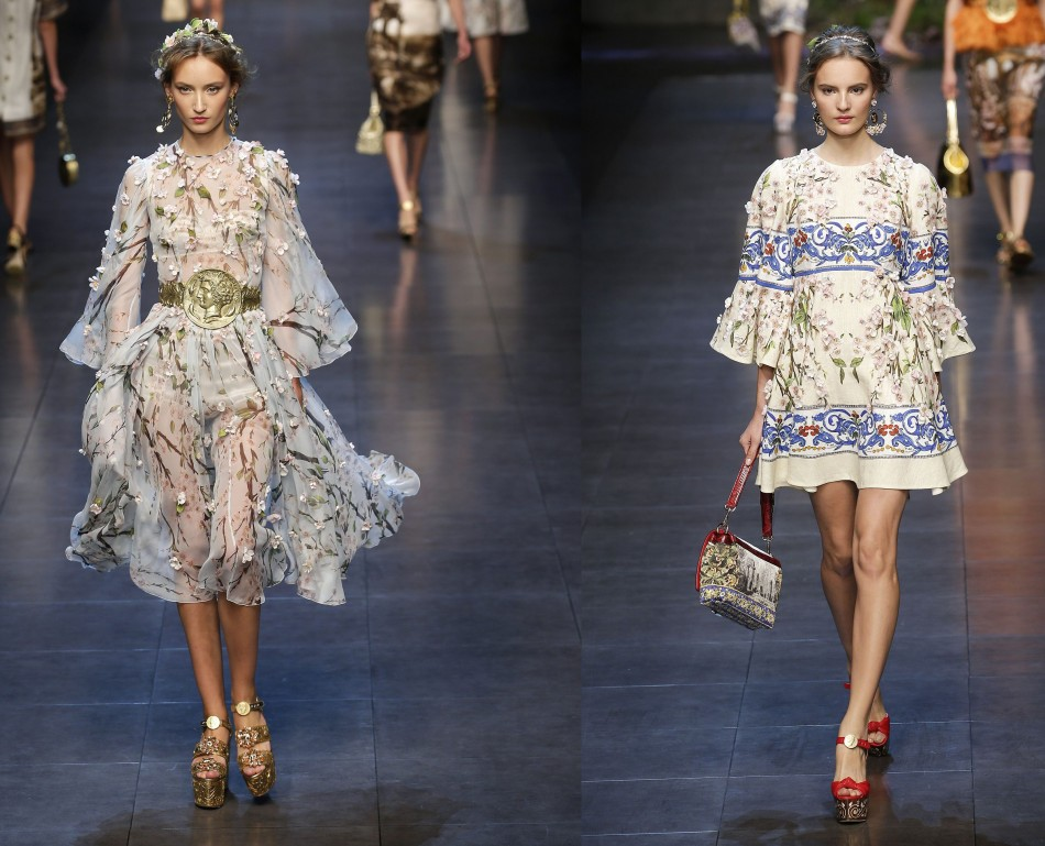 White is evergreen when it comes to spring or summer fashion. Floral patterns from Dolce&Gabbana's collection add to the style quotient. (Photo: REUTERS/Max Rossi)