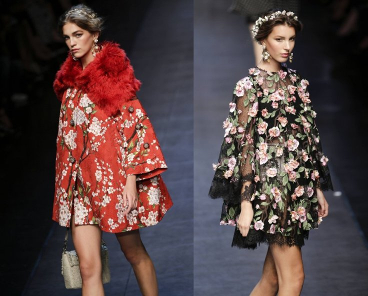 Winter styled tops with floral prints from Dolce