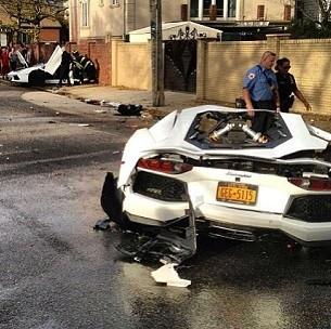Lamborghini Aventador Splits In Half In Spectacular Brooklyn Crash