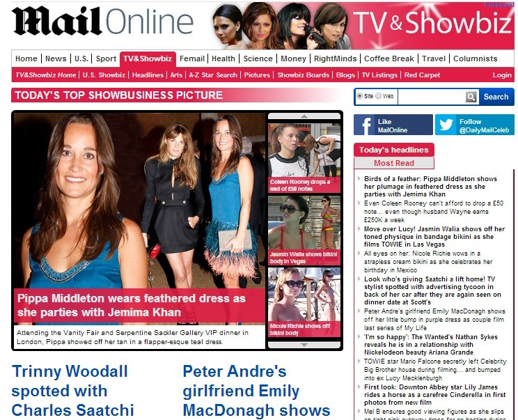 The Daily Mail revealed a rise in revenue for the eleven month period to the end of August 2013 after its online flagship website, MailOnline, racked up a surge in advertising. (Photo: mailonline.com)