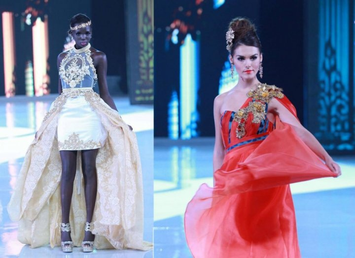 Miss South Sudan Modong Manuela Mogga (L) and Miss Cyprus Kristy Marie Agapioy (Photo: MissWorld/Facebook)