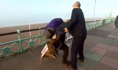 The incident occurred on the Brighton seafront in front of TV cameras