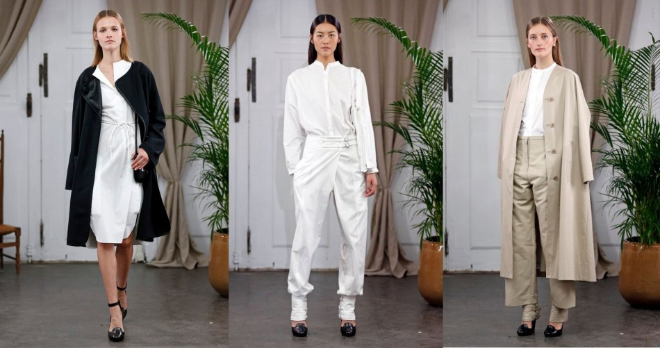 Lemaire's collection included loose trousers, blazers and pantsuits. (Photo: Reuters)