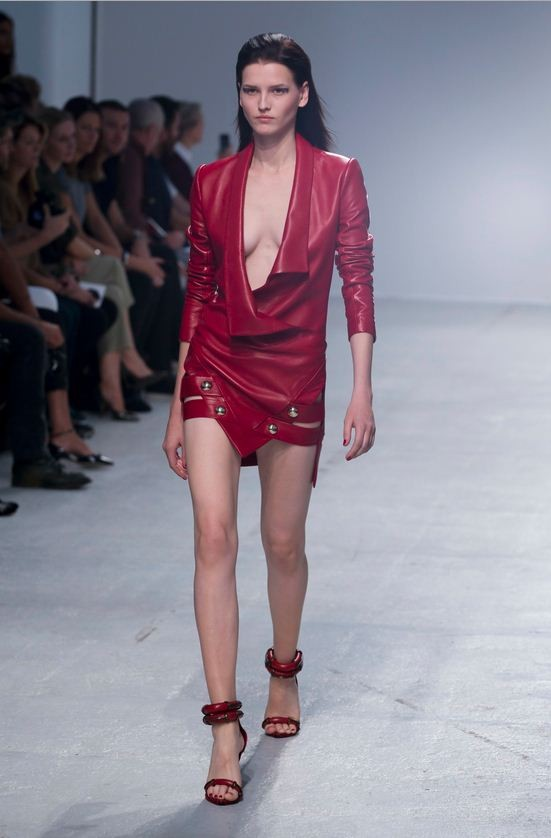 A model presents a creation by designer Anthony Vaccarello.  (Photo: Reuters)