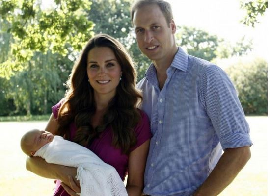 Prince William, Kate Middleton and royal baby Prince George in their first official family photograph.