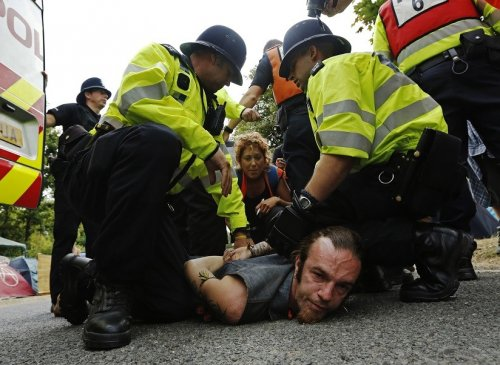Protesters were arrested during clashes with police at Balcombe over fracking by Cuadrilla Resources PIC: Reuters