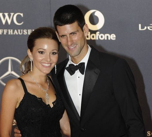 Tennis player Novak Djokovic (R) and Jelena Ristic