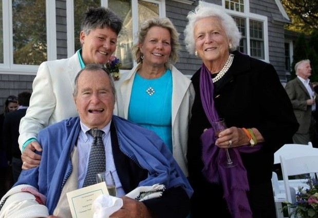 George Bush Snr at wedding of Bonnie Clement and Helen Thorgalsen, with wife barbara PIC: Facebook