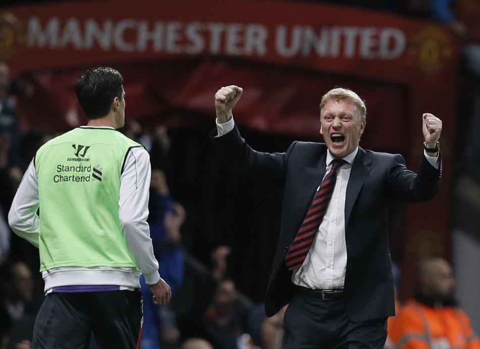 David Moyes is seen celebrating Javier Hernandezs goal