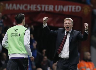 David Moyes is seen celebrating Javier Hernandezs goal
