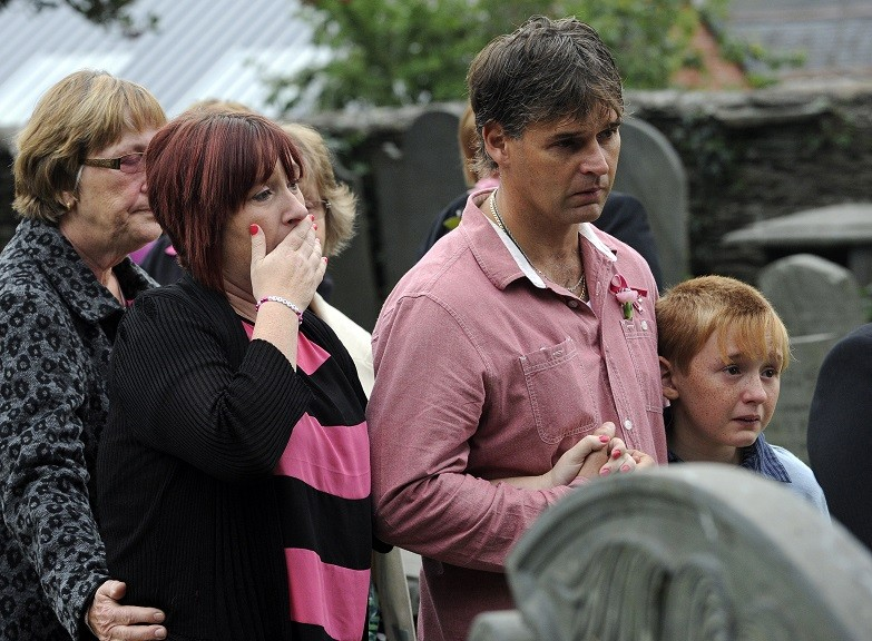 Coral and Paul Jones at the funeral for their murdered daughter April Jones at St Peter's Church in Machynlleth PIC: Reuters