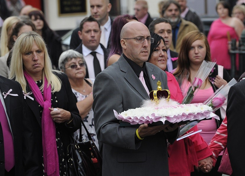 Mourners attend the funeral service of April Jones at St Peter's Church in Machynlleth PIC: Reuters