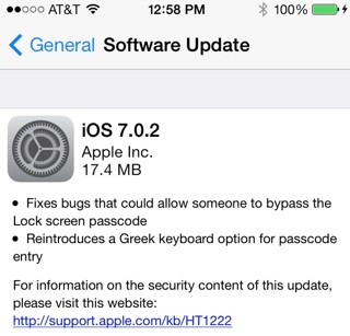 iOS 7.0.2 Lock Screen Bug-Fix Update Released for iPhone, iPad and iPod Touch [Download and Install Manually]