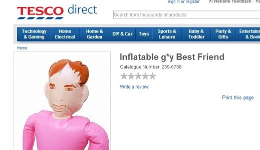The word 'gay' was also censored on Tesco's website