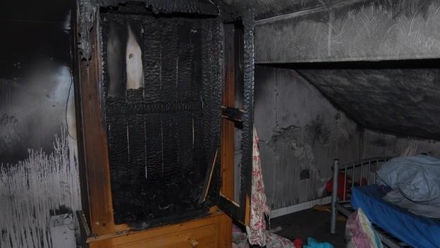 The wardrobe where Allen started the blaze (Lancashire Police)