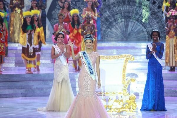Clad in a glamorous fishtail dress, she promised to be the best Miss World ever as she won the 63rd annual beauty pageant on Indonesia's resort island of Bali (Facebook/MeganYoung)
