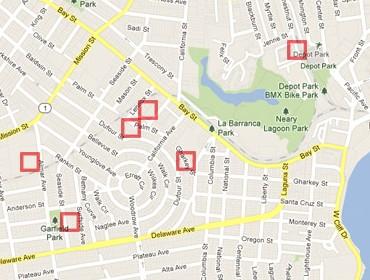PredPol crime hotspots map from the USA