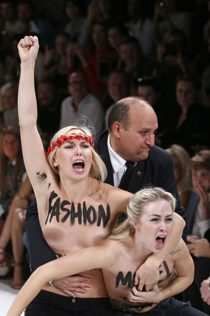 Femen protesters at Paris show grapple with security