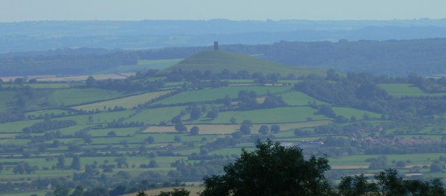 Glastonbury, The Tor from the Mendips over the towers of Wells
