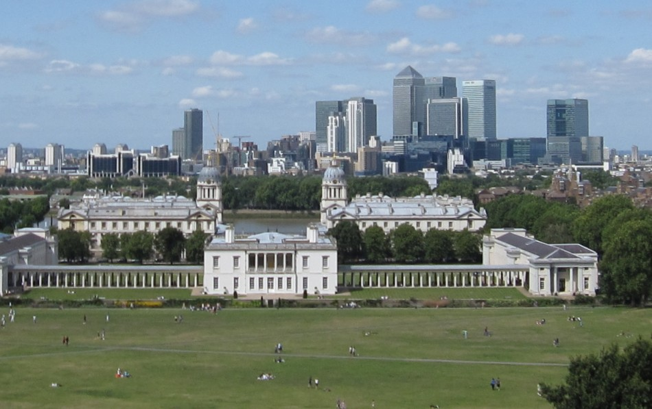 Greenwich, the Royal Hospital with Canary Wharf in the distance