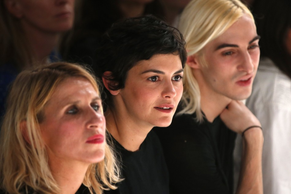 French actress Audrey Tautou (C) attends designer Gareth Pugh's Spring/Summer 2014 women's ready-to-wear fashion show. (Photo:  REUTERS/Charles Platiau)