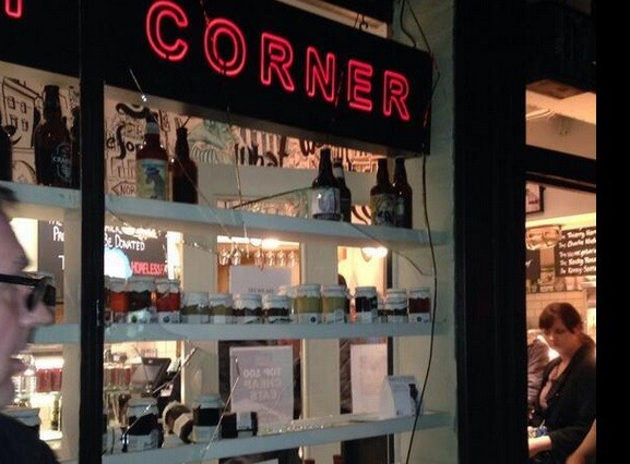 Smashed window at Piebury Corner after Napoli fans ran riot PIC: Rajigilo / Twitter