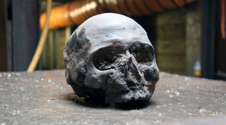 A Roman skull which was found at Liverpool Street ticket hall during Crossrail project's excavation. (Photo: ©Crossrail Ltd 2013)