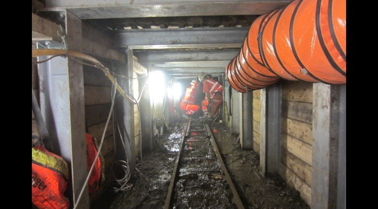 The tunnel in which skulls were found. (Photo: ©Crossrail Ltd 2013)