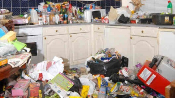 The rubbish-filled home where Manzah was discovered (West Yorkshire Police