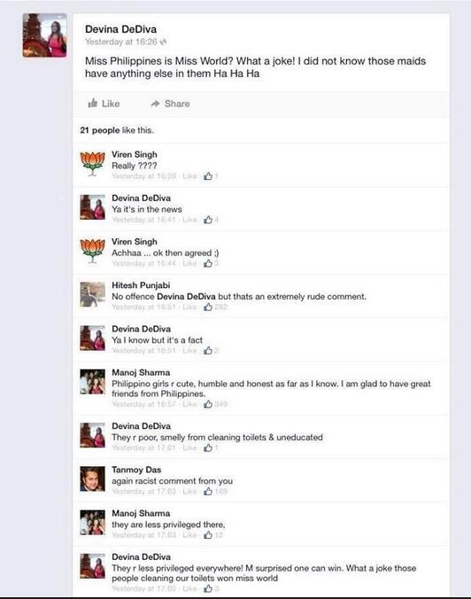 Screenshot of Devina DeDiva's Facebook page. Taken from Twitter user @JoelSanicoAba