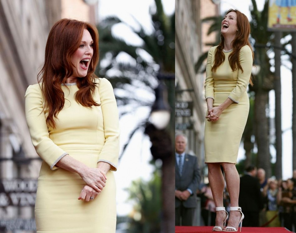 Julianne Moore laughs before unveiling her star on the Walk of Fame in Hollywood. (Photo: REUTERS/Mario Anzuoni)