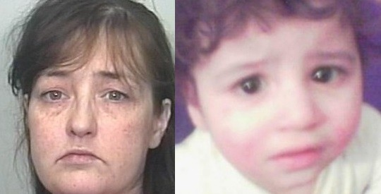 Amanda Hutton (L) has been found guilty of the manslaughter of her four-year-old son Hamzah Khan (West Yorkshire Police)