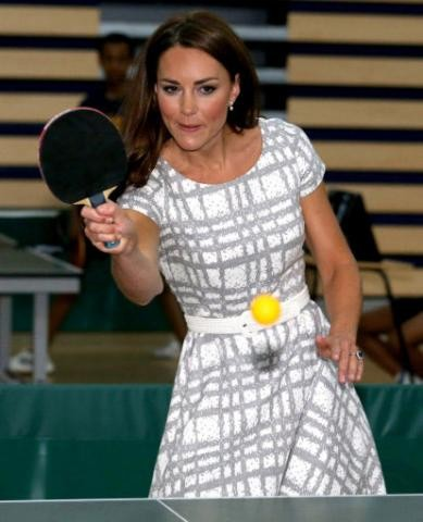 Kate Middleton tries her hand at table tennis during an event for the Royal Foundation in London. (Photo: Clarence House)