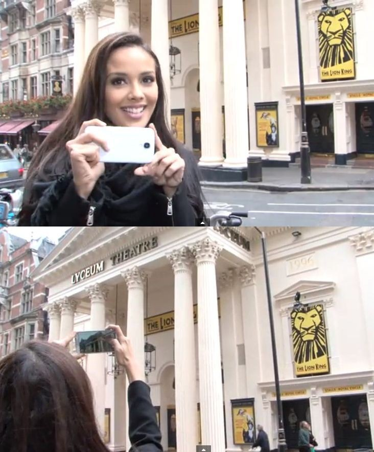 Megan Young takes a picture of Lyceum Theatre, where the first Miss World pageant took place in 1951. (Photo: YouTube Video Screenshot/Miss World Organisation)