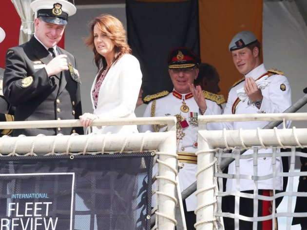 Prince Harry speaks with General David Hurley, Australia's Chief of the Defence Force, on the HMAS Leeuwin at Garden Island during the International Fleet Review in Sydney. (Photo: REUTERS)