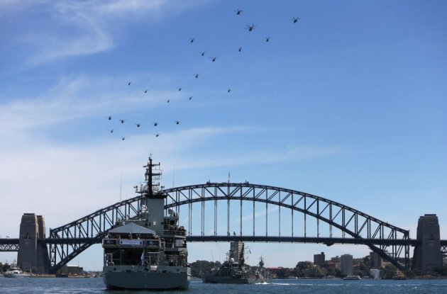 The HMAS Leeuwin, with Prince Harry aboard, sits in Sydney Harbour during the International Fleet Review. (Photo: REUTERS)