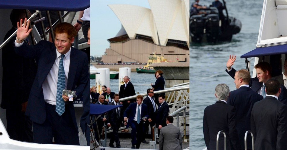 Prince Harry boards a boat in Sydney Harbour. (Photo: REUTERS)