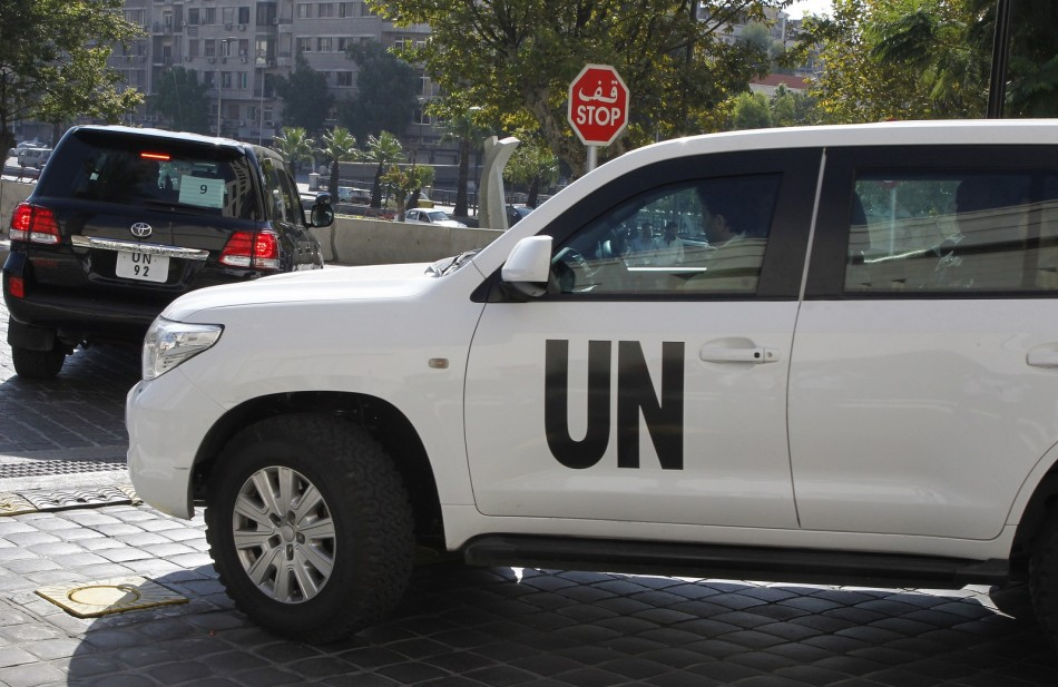 The OPCW team leaves its hotel in Damascus on Saturday.