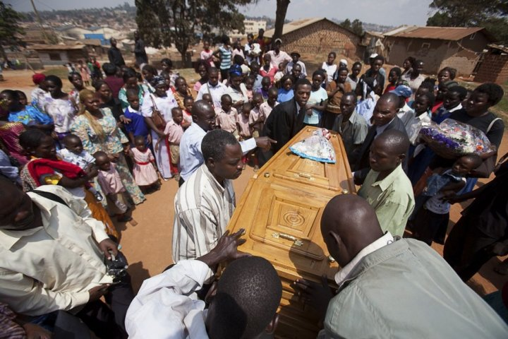 Mourners at the funeral of one of the victims of the 2010 kampala terror attack.