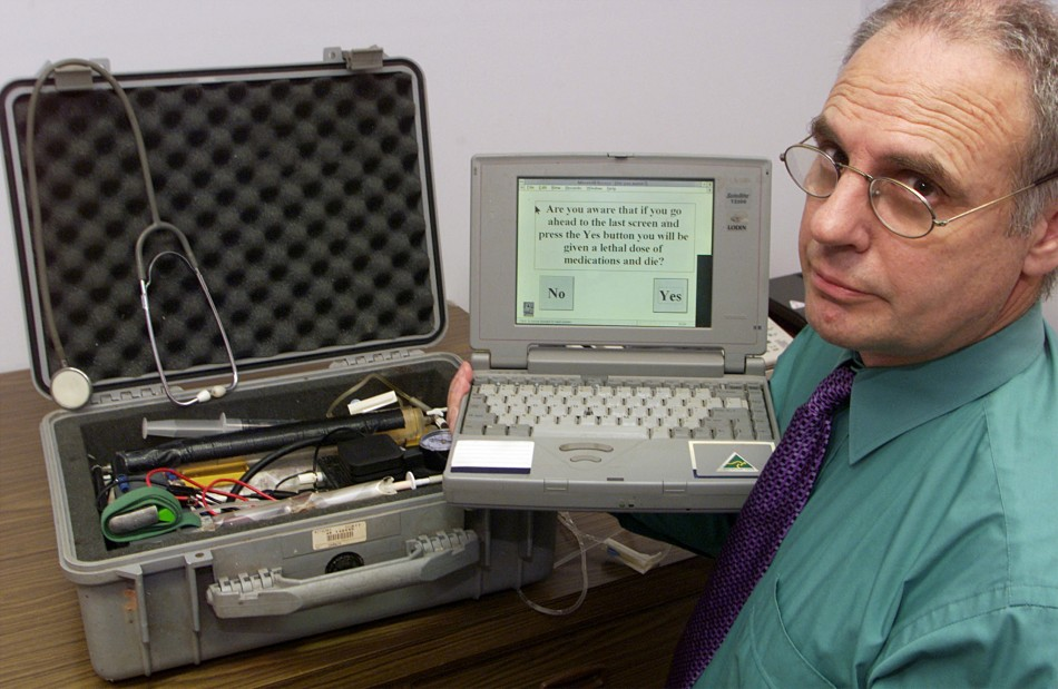 "Dr Philip Nitschke with the ""death machine"" he designed to conduct the world's first legal mercy killings."