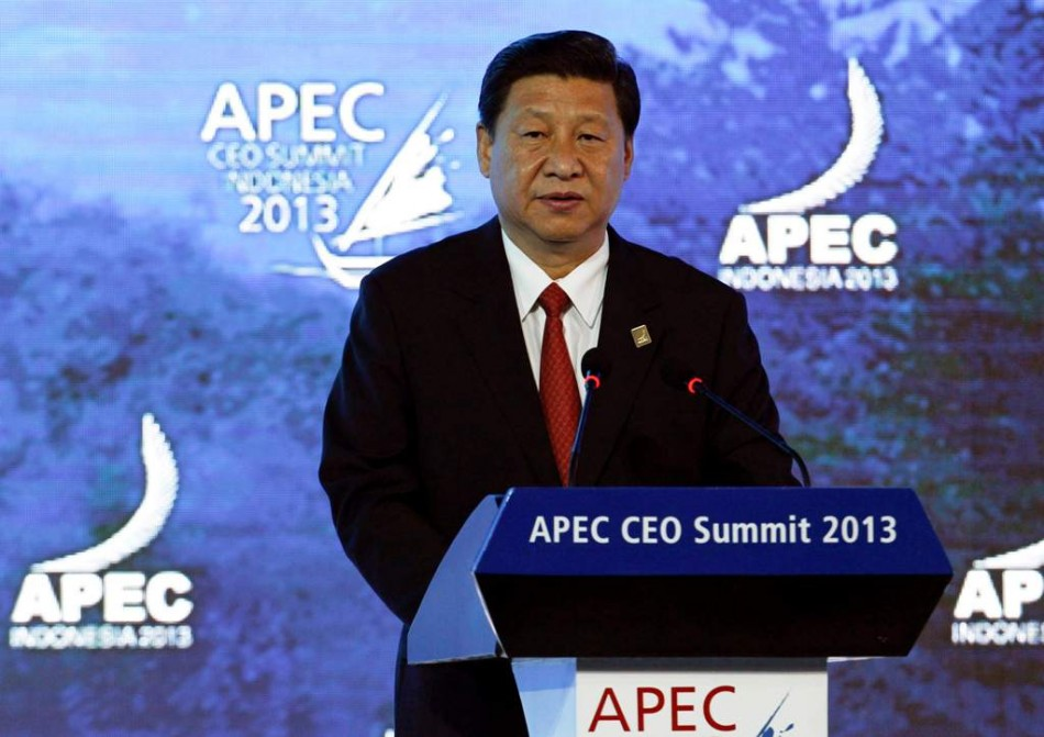 China's President Xi speaks at the APEC CEO Summit in Nusa Dua on 7 October, 2013