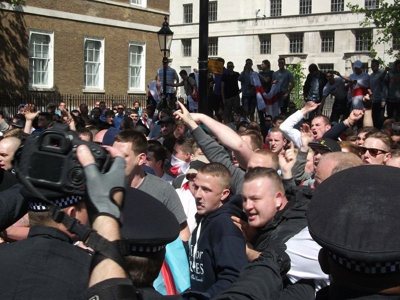 EDL protest near Downing Street against killing of soldier Lee Rigby