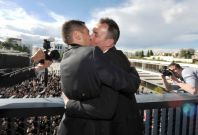 Vincent Autin and Bruno Boileau, who are the first homosexual couple to legally marry in France, kiss at Tel Aviv Gay Parade. A new study reveals that homosexuality was not a taboo in ancient societies. (Photo: Reuters)
