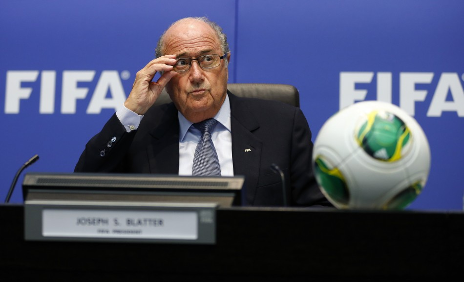 FIFA President Sepp Blatter addresses the media after a meeting of the executive committee