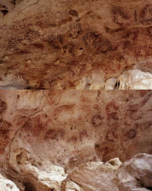 200 hand stencils of Gua Tewet cave in Borneo, Spain, were also a part of the study. (Photo: Dean Snow/Pennsylvania State University)