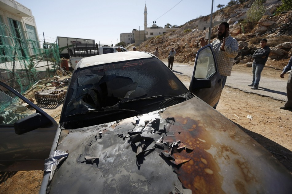 Cars fire west bank