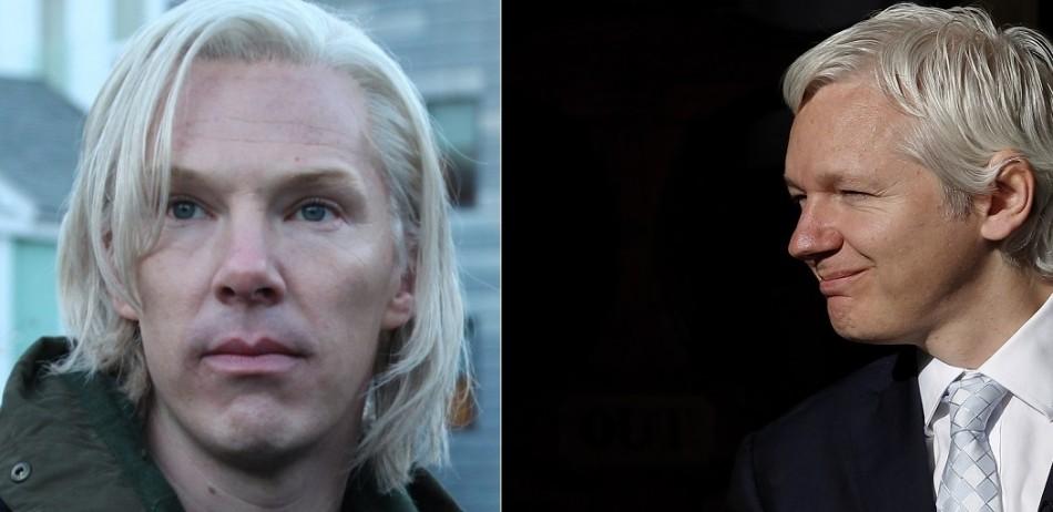 Benedict Cumberbatch (l) as Julian Assange in The Fifth Estate