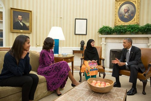Malala Yousafzai with Obama & family
